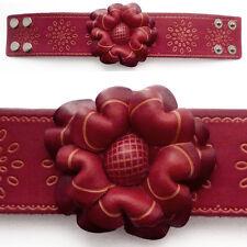 Bracelet femme vrai cuir Réglable large fleur rouge et liseré motifs beige