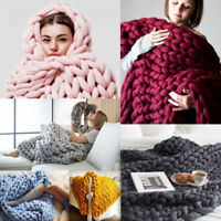 Large Soft Warm Handmade Chunky Knit Blanket Thick Line Yarn Bulky Knitted Throw