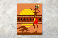African Woman Dance Wall Art Abstract Painting Canvas Modern Home Office Decor