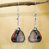 925 Silver Colorful Gemstone Ear Hook Dangle Drop Oval Cut Earrings Jewelry Gift