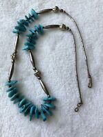 """#735 Old Blue Turquoise Navajo 21"""" Necklace, Silver, Charming"""