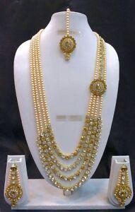 Bollywood Indian Designer Ethnic Gold Plated Fashion Kundan Pearl Jewelry Set