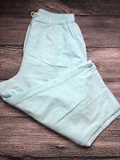 Cathy Daniels Women Capris Turquoise Cotton Stretch Cropped  Elastic Waist Large
