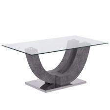 Tavolino caffè piano in vetro temperato OVAL soggiorno salotto design moderno