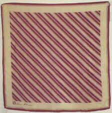 "TERRIART Blackberry, Beige, Pink Stripes SILK 20"" Sq Scarf-Vintage - A.KLEIN"