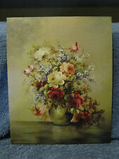 Bouquet In Vase- Yellow, Pink, Red Roses Lith Print-USA