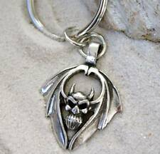 GOTHIC DEMON SKULL BAT WINGS Pewter KEYCHAIN Key Ring