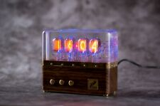 Premium Nixie Tube Clock IN-12 Retro Vintage 2. Zebrano wood. Best gift.