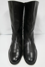 SALVATORE FERRAGAMO Black Leather Side Zip Dress Boots Mens 9 D  Equestrian