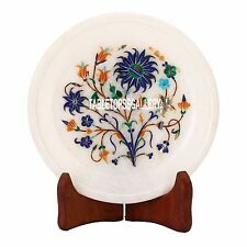7'' White Marble Dish Plate Lapis Hakik Stone Art Inlay Dining Table Decor H3574