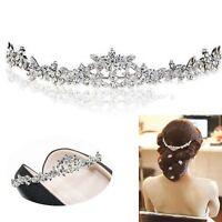 Crown Bridal Flower Bridesmaid Prom Crystal Headband Tiara Wedding Headpiece