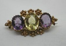 Amethyst Yellow Gold Brooch/Pin Victorian Fine Jewellery