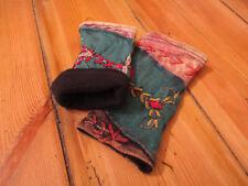 Stulpen aus Baumwolle, Fleecefutter, Handarbeit, Patchwork, bestickt   1