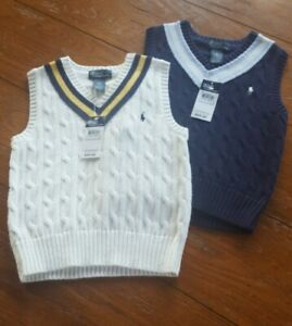 NWT New Boy's 5 Polo Ralph Lauren Creme Or Navy Blue Cable Knit Sweater Vest