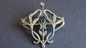 Belle Epoche Brosche Jugendstil Brosche Saphir 800 Silber Gold floral
