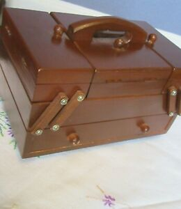 Small Wooden Vintage Cantilever Sewing / Trinket Box