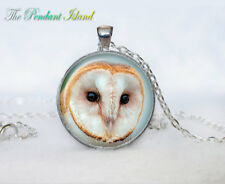 White owl Jewelry Necklace Tibet silver Cabochon glass pendant chain Necklace