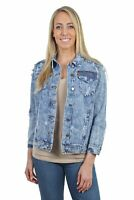 Women's Juniors Relaxed Loose Ripped Denim Jackets Long Sleeve Jean Coats
