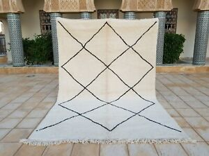 "Beni ourain Rug 10'2""x6'9"" Ft Moroccan Rug Handmade Authentic Wool Carpet"