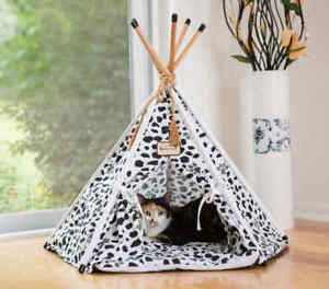 Armarkat Cat Kitten Teepee Tent Bed Black White Paw Print Machine Washable