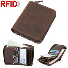 RFID Vintage Mens Leather Wallet Slim Purse Zip Around Card Coin ID Photo Holder