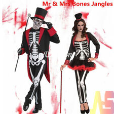 Adult Bone Jangles Costume Skeleton Halloween Fancy Dress Mens Ladies Couples