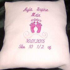 Personalised Pink Cushion Embroidered Baby Feet Design, gift, newborn, keepsake