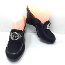 Women's Dr Scholl's Black Leather Suede Horsebit Clogs Mules Size 8.5 M