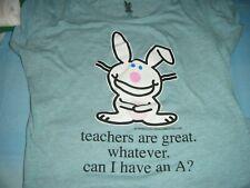 Juniors' Jim Benton Happy Bunny Blue T-shirt, xl  15/17 junior