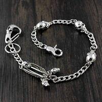 Skull Pants chain Mens Biker Wallet Chain With Skulls Charm Clasp N02