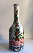 Studio Ceramico Vase/Bottle Hand Painted Floral Modern Signed S.C. Cajielli