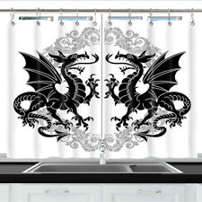 Two Winged Heraldic Dragon Kitchen Curtains 2 Panel Set Decor Window Drapes