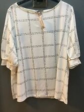 New H&M Size XL (16-18) Off White To Cream With Black Square Top Blouse