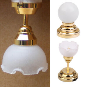 2x 1/12 Scale Dollhouse Ceiling LED Lamp Lighting Table Desk Light Furniture
