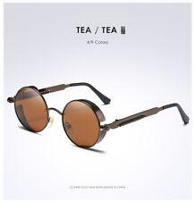 Retro Vintage Steampunk Gafas de sol polarizadas Moda Redondo Espejo Gafas