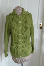 New Green Aran Cardigan 100% Soft Falkland Island Wool size 14 hand knitted