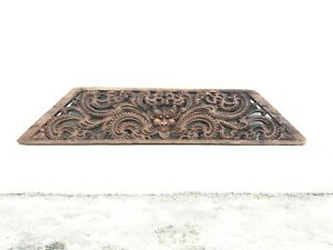 Antique Vintage Old Kerala Original Floral Wall Hanging Wooden Hand Carved Panel
