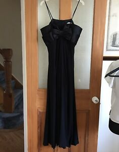 Joseph Ribkoff Long Black Party Evening Strappy Dress Size 14 Bow Detail (FLAW)