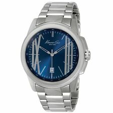 KENNETH COLE NY BLUE DIAL DATE STAINLESS STEEL BRACELET MEN'S WATCH KC9386 NEW
