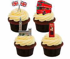 London / England Edible Cupcake toppers  - Stand-up Fairy Cake Bun Decorations