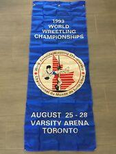 """Vintage 1993 World Wrestling Championships Toronto Large Banner Flag 72"""" x 27"""""""