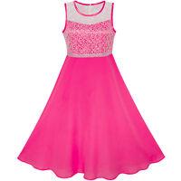 Girls Dress Deep Pink Chiffon Bridesmaid Dance Ball Maxi Gown Size 6-14