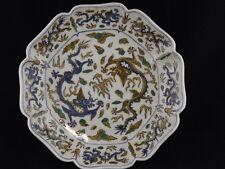 "ANTIQUE CHINESE SANCAI DRAGON DISH ""WAN YU"" MARK ca.1662 - 1795"