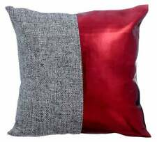 Decorative Pillow 20x20 inch Metallic Red, Faux Leather Fabric - Red Light