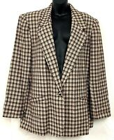 Koret Womens Blazer Plaid Beige Check One Button Jacket Wool Blend Vintage 18 1X