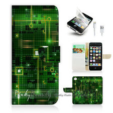 ( For iPhone 5 / 5S / SE ) Wallet Case Cover! Green Computer Motherboard P0175
