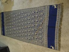 Woven Fringed Cloth made in Turkey Navy and Cream