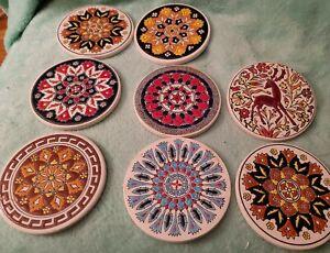 Vintage NIARCHOS Smaltotechniki Greek Greece Ceramic Tile Coasters Set of 8