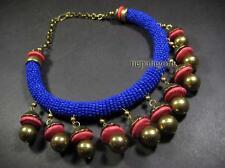 N4619 TIBET BOLD HUGE Resin Glass Beads Tribal Gold tone FASHION CHOKER Necklace