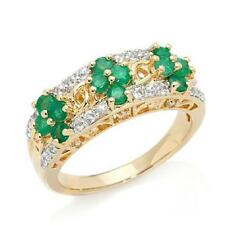 VICTORIA WIECK VERMEIL GEMSTONE AND EMERALD FLORAL CLUSTER RING SIZE 8 HSN $219
